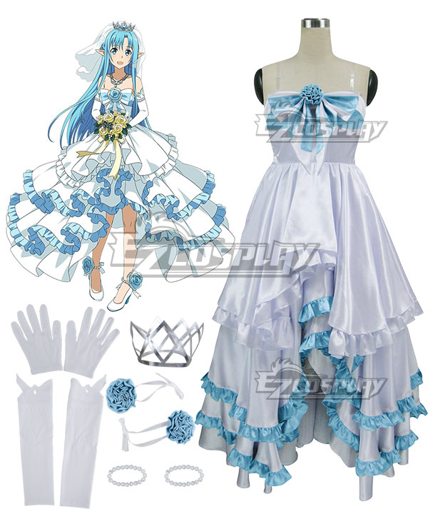 Sword Art Online Code Register ALfheim Online SAO ALO Yuuki Asuna Yuki Asuna Bride Wedding Dress Cosplay Costume None