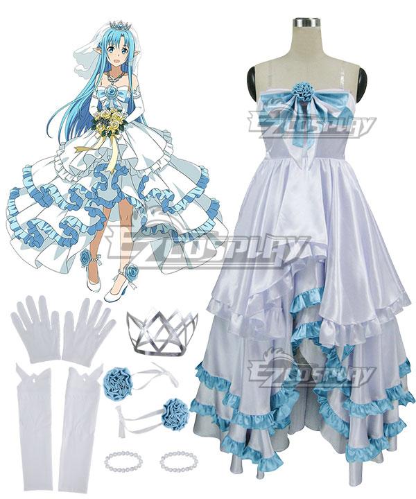 Sword Art Online Code Register ALfheim Online SAO ALO Yuuki Asuna Yuki Asuna Bride Wedding Dress Cosplay Costume None