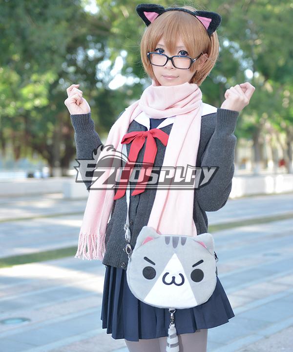 Ascii Emoticon Cosplay Chicken Nugget Cute Clever Cat(?`�?�??) Anime Plush Shoulder Messenger Bag Satchel Gray