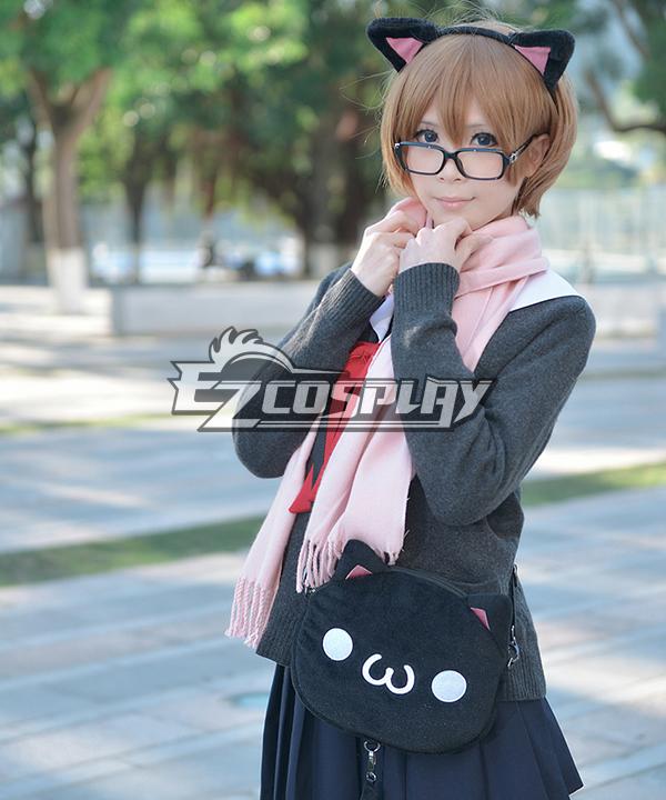 Ascii Emoticon Cosplay Chicken Nugget Cute Clever Cat(?`�?�??) Anime Plush Shoulder Messenger Bag Satchel Black
