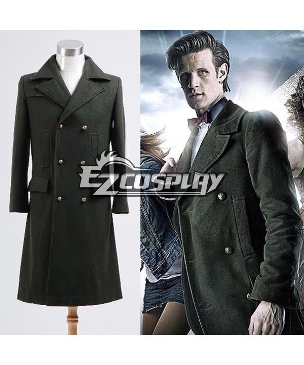 Doctor Who Dr. Dark Green Long Wool Trench Coat