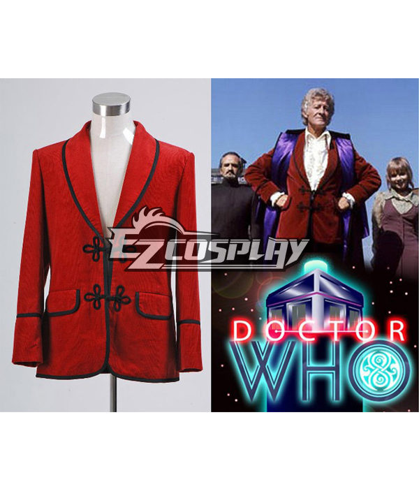 Doctor Who 3rd Doctor Red  Jacket Coat Costume