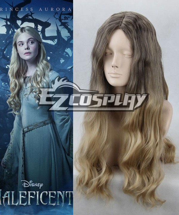 Disney Maleficent Princess Aurora Curly Full Hair Cosplay Wig