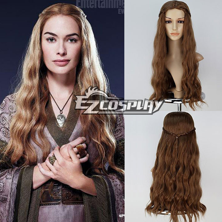 New Movie Game of Thrones Cersei Lannister Long Wavy Brown Cosplay Wig with Braid