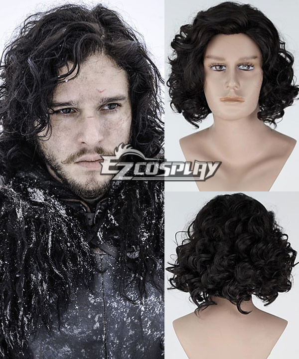 New Movie Game of Thrones Jon Snow Short Curly Black Cosplay Wig