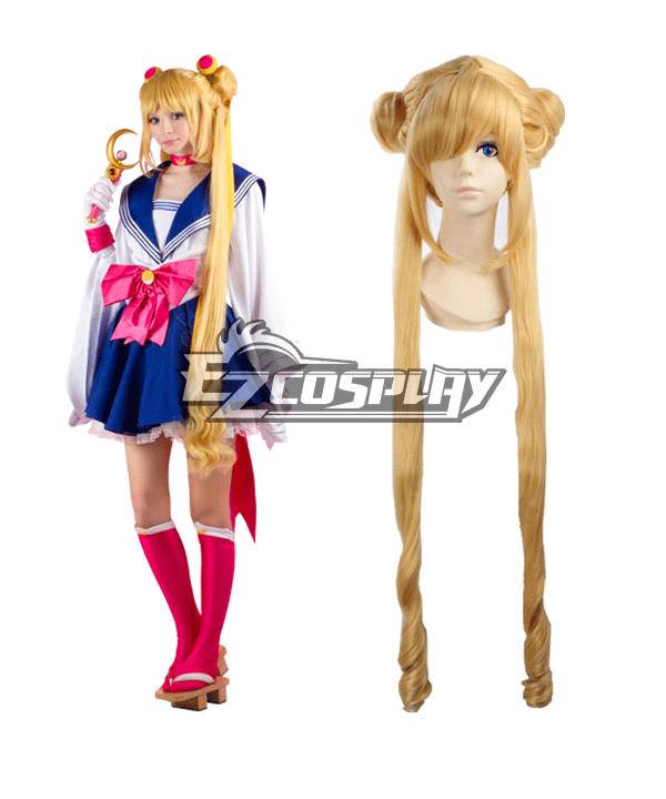 Sailor Moon Tsukino Usagi Princess Serenity JK School Uniforms Anime Style Long Orange Cosplay Wig  None
