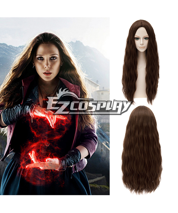 Marvel Avengers: Age of Ultron Scarlet Witch Long Curly Brown Cosplay Wig EWG0449