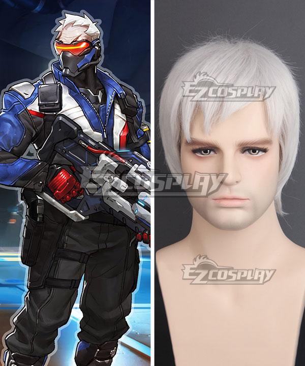 EWG0870 Overwatch OW Soldier 76 John Jack Morrison Silver gray Cosplay Wig