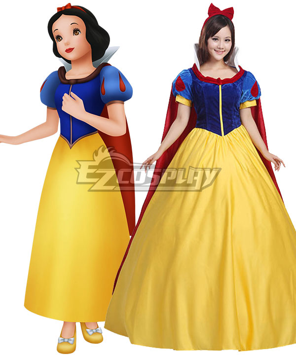 Grimms' Fairy Tales Disney Snow White Schneewittchen Snow White Yellow Dress Cosplay Costume - B Edition None