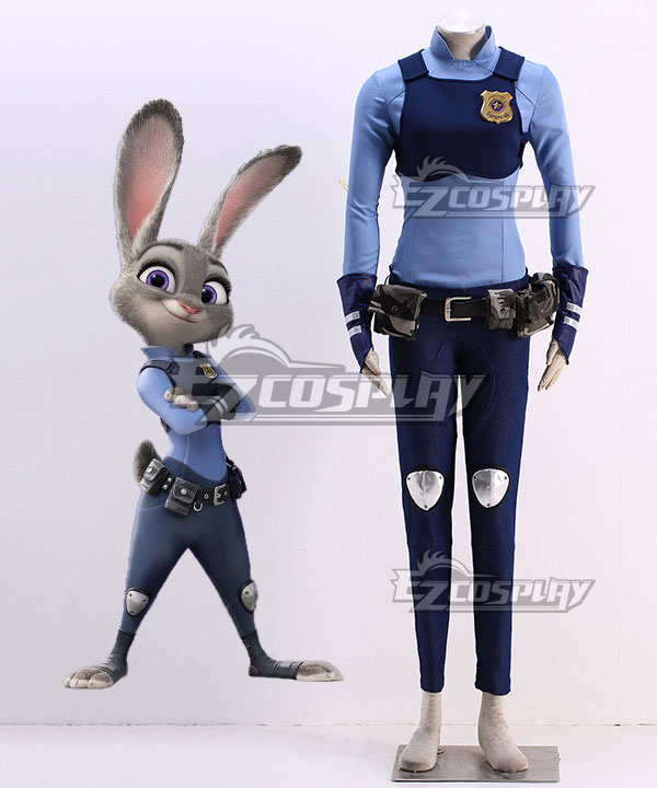 Disney Zootopia Officer Judy Hopps Personify Movie Cosplay Costume - Deluxe Version None