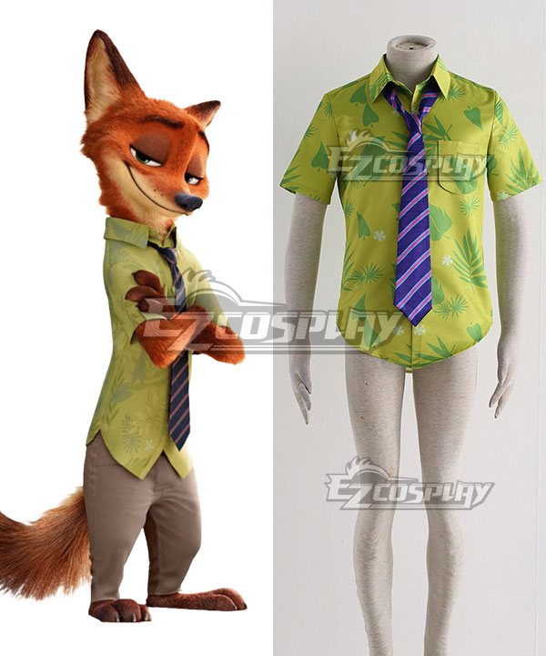 Disney Zootopia Nicholas P.Wilde Fox Nick Cosplay Costume - Only Shirt, Tie None
