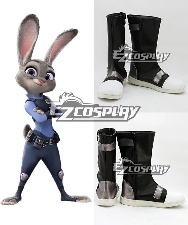 Disney Zootopia Officer Judy Hopps Black Shoes Cosplay Boots None