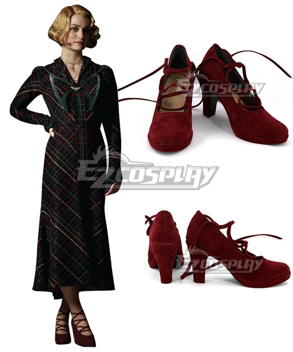 Vintage Style Shoes, Vintage Inspired Shoes Fantastic Beasts The Crimes Of Grindelwald Queenie Goldstein Red Cosplay Shoes $32.99 AT vintagedancer.com