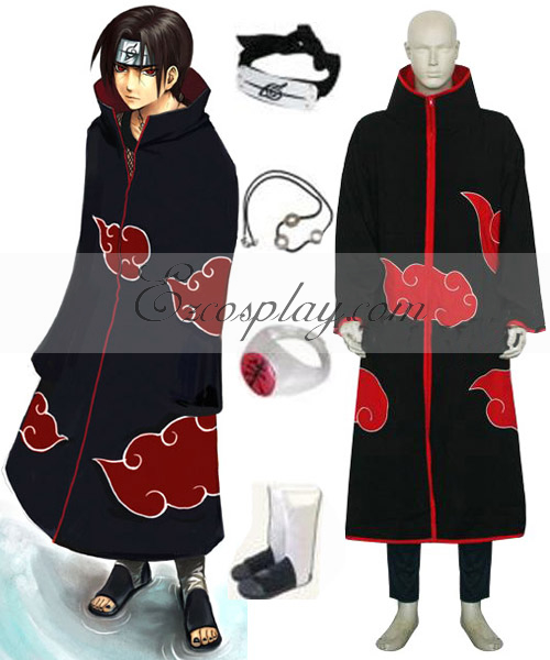 Image of Naruto Akatsuki Itachi Uchiha Deluxe Men's Cosplay Costume and Accessories Set ENR0001