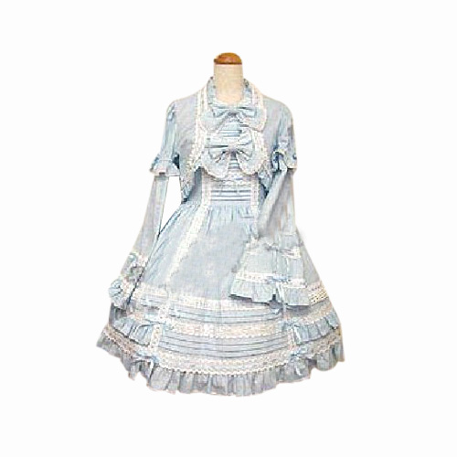 Blue Cute 2-Piece Dress Long-sleeved Dress Lolita Cosplay Costume