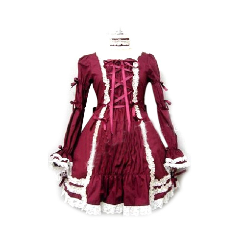 Elegant Burgundy Long-sleeved Dress Lolita Cosplay Costume ELT0023