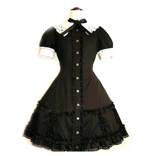 Black Lace Corset Dress Lolita Cosplay Costume ELT0024