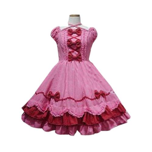 Peach Bow Princess Dress Lolita Cosplay Costume ELT0025