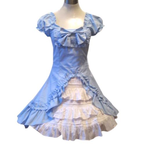 Classic Double Hemlines Blue Dress Lolita Cosplay Costume ELT0026