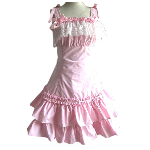 Pink Lace Princess Dress Lolita Cosplay Costume