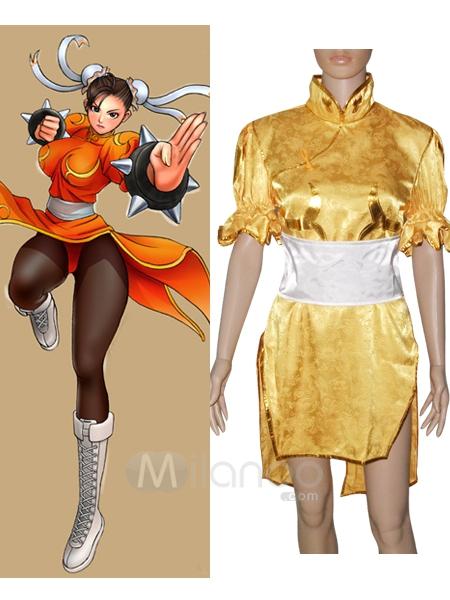 Street Fighter Chun Li yellow Cosplay Costume