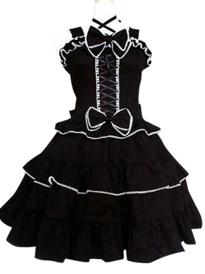 Image of Black Gothic Lolita Cosplay Dress
