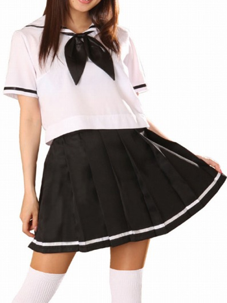 Black and White Short Sleeves Sailor Uniform Cosplay Costume None