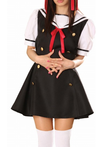 Black Dress Short Sleeves Sailorl Uniform Cosplay Costume
