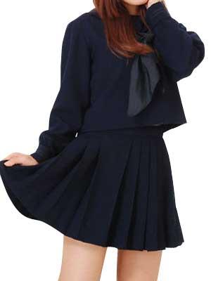 Deep Blue Long Sleeves Winter School Uniform Cosplay Costume
