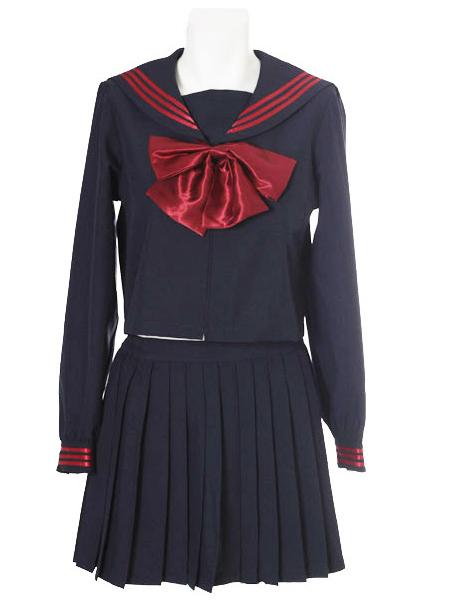 Deep Blue Red Bowknot Long Sleeves School Uniform Cosplay Costume