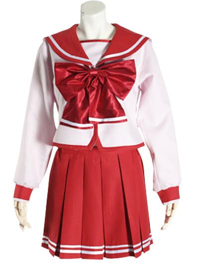 Red Bowknot Long Sleeves School Uniform Cosplay Costume