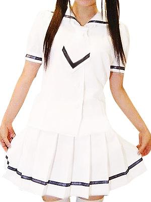 Short Sleeves White Skirt Cute School Uniform Cosplay Costume