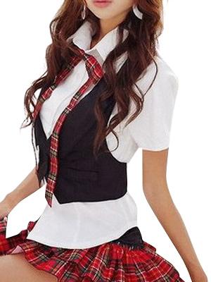 Black Vest White Short Sleeves School Uniform Cosplay Costume None