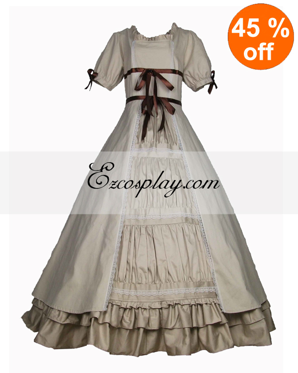 Victorian Dresses | Victorian Ballgowns | Victorian Clothing Cutton Off-white Short Sleeve Gothic Lolita Dress $117.99 AT vintagedancer.com