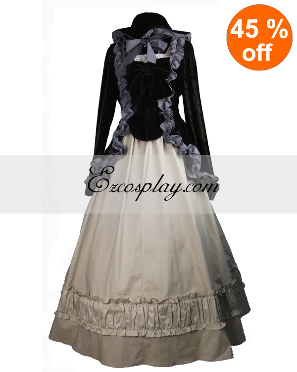 Image of Black Coat and Gothic Lolita Dress