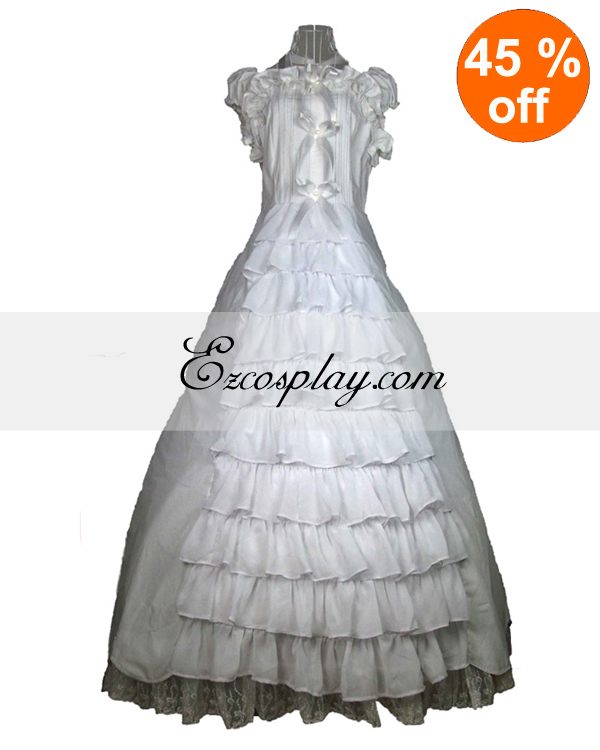 Victorian Dresses | Victorian Ballgowns | Victorian Clothing Cutton White Lace Sleeveless Gothic Lolita Dress $117.99 AT vintagedancer.com