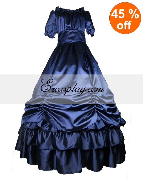 Victorian Costumes: Dresses, Saloon Girls, Southern Belle, Witch Satin Deep Blue Short Sleeve Classic Lolita Dress $117.99 AT vintagedancer.com