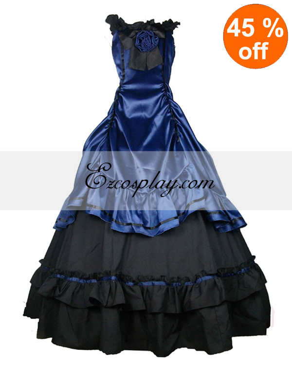 Satin Blue Black Classic Gothic Wedding Dress
