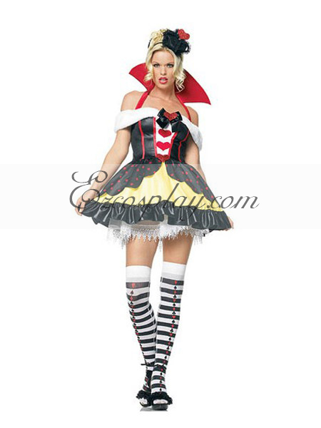 Alice in Wonderland Queen of Hearts Cute Cosplay Costume