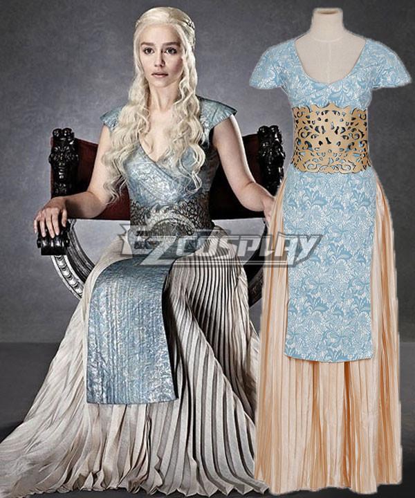 Game Of Thrones Daenerys Targaryen Light Blue And Grey Dress Cosplay Costume