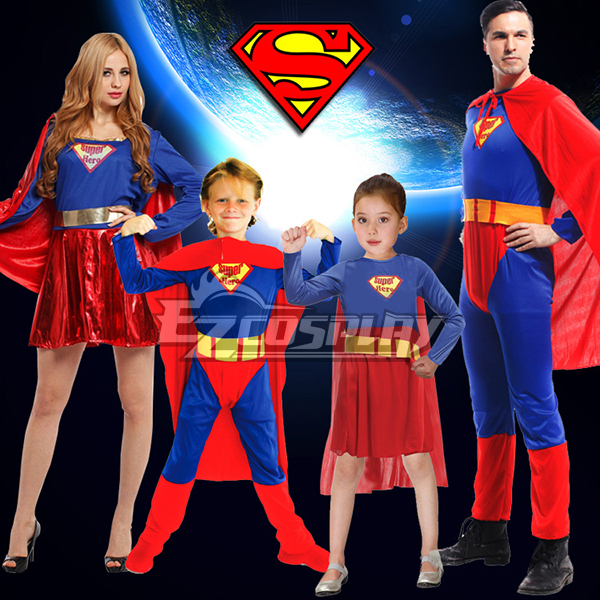Halloween Super Man Super Girl Super Woman Super Boy Cosplay Costume None