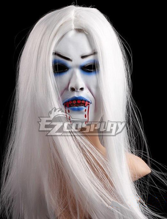 Halloween Grey Hair Bleeding Ghost Cosplay Mask None