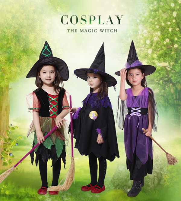 Halloween Kids Costume Witches Cosplay Costume