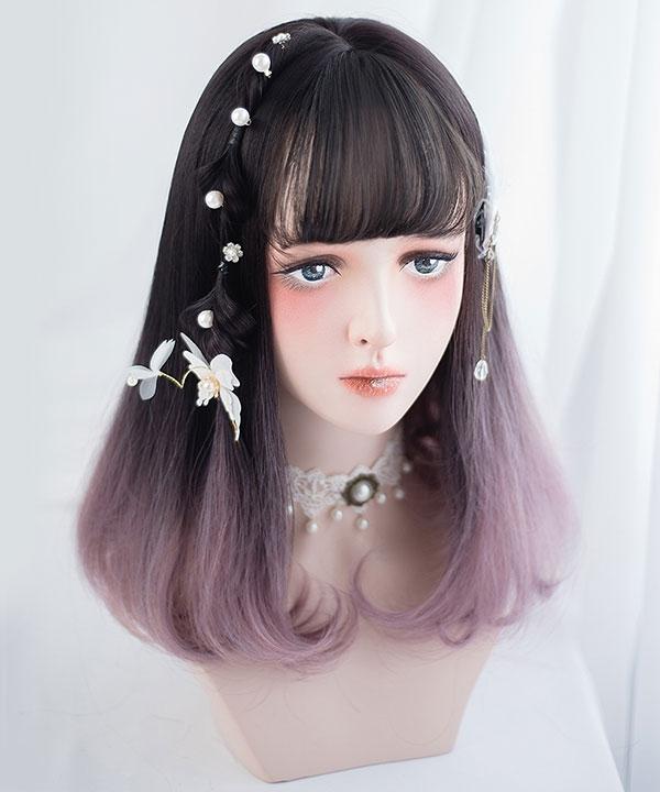 Japan Harajuku Lolita Series Gradient Black Light Purple Curls Cosplay Wig-Only Wig AG-042