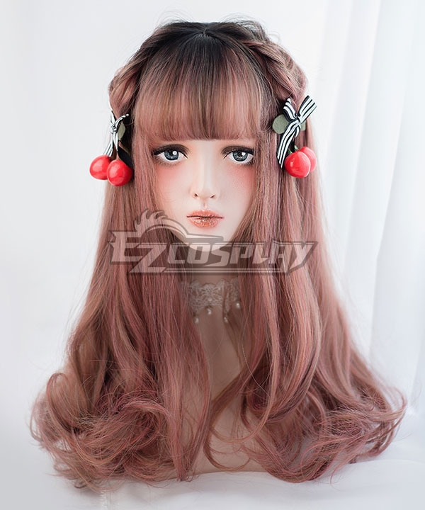 Japan Harajuku Lolita Series Gradient Light Red Brown Long Curls Cosplay Wig-Only Wig AG-31