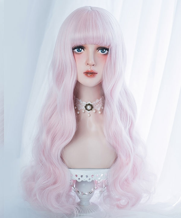 Japan Harajuku Lolita Series Light Pink Purple Long Curls Cosplay Wig-Only Wig AG-065