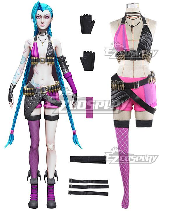 LOL Jinx Costume Dress Game League of Legends Loose Cannon Mafia Cosplay Skirt:S