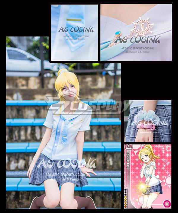 Image of Love Live! LoveLive! School Idol Festival Navy Marine Ayase Eli Unawakened Sailor Cosplay Costume  Deluxe Version