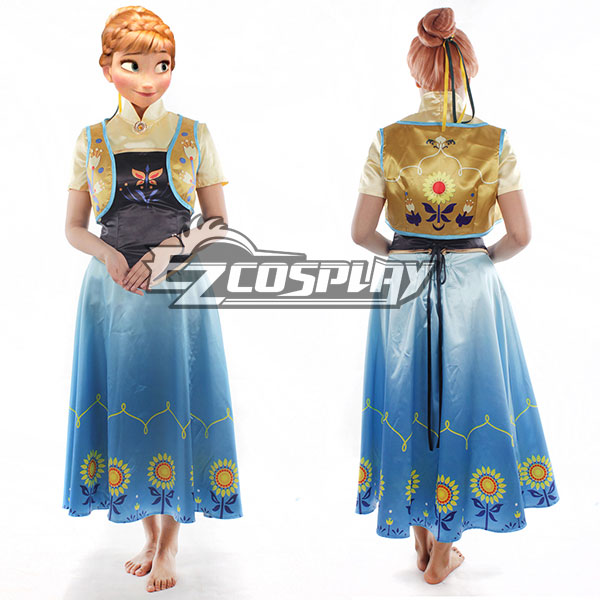 Frozen Fever Anna Princess Birthday Party Dress Cosplay Costume - B Edition None