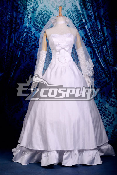Fate Stay Night Saber Wedding Dress Cosplay Costume Deluxe-P5